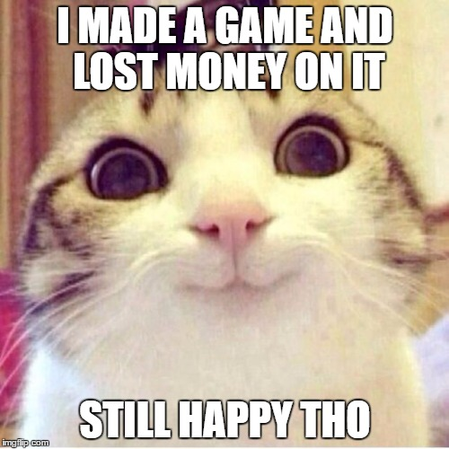 "Happy cat with ""Lost money but still happy"" text on top"