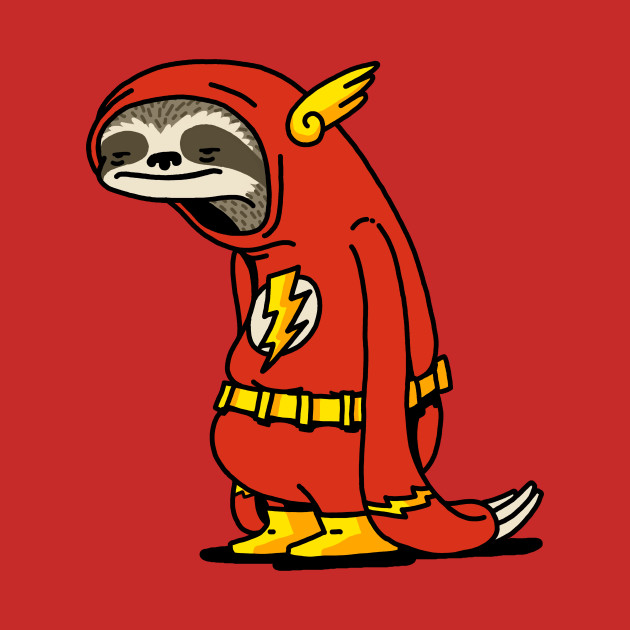 An image of a sloth in Flash costume