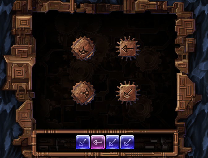 A screenshot from Machine at the Heart of the World showing a puzzle involving Chameleon glyphs