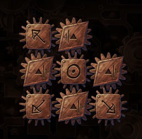 A puzzle from Machine at the Heart of the World showing a parentheses glyphs