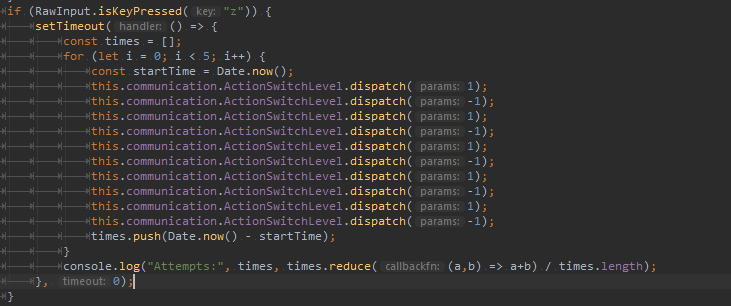Code showing the implementation of the aforementioned test