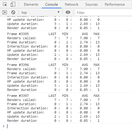 View of Chrome's dev tools showing performance being logged