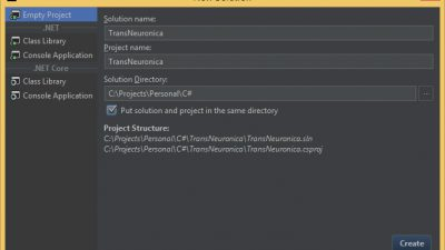 JetBrains Rider, new project window