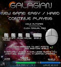 Galagian screenshot with title screen