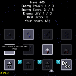 Galaxus screenshot with the upgrades screen