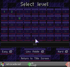 Linx screenshot, level selection screen