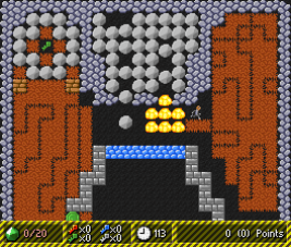 Rock Rush screenshot showing magic walls in action