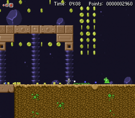 Slimower screenshot with the player attacking and killing a slime