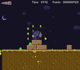 Slimower screenshot with the player collecting a coin