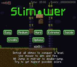 Slimower screenshot with the title screen