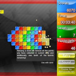 Weirdtris screenshot with late level that has a lot of blocks